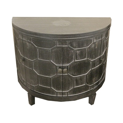 Wooden Nightstand with Raised Geometric Design, 21st Century