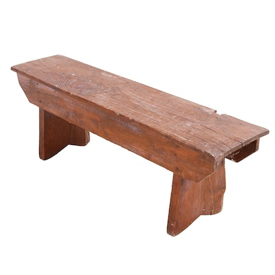 Antique Pine Bench, Early 20th Century