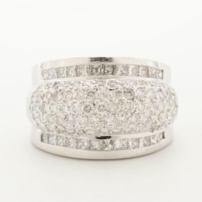 14K White Gold 2.58 CTW Diamond Pavé Dome Ring