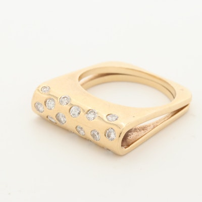 14K Yellow Gold Diamond Square Ring