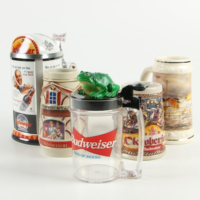 Budweiser Ceramic and Plastic Beer Steins with Membership Stein, 1990s–2000s