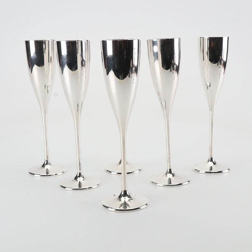 Set of Six Buccellati Sterling Silver Champagne Flutes with Vermeil Interior