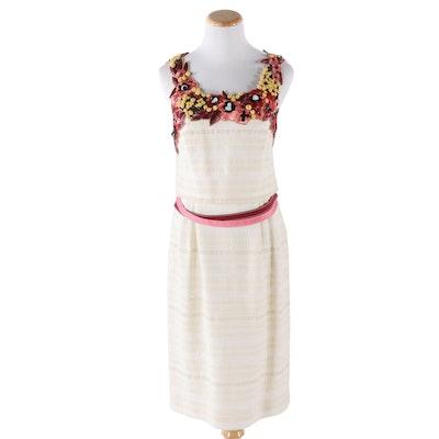 Carolina Herrera New York Embellished Tank Dress with Floral Neckline, Vintage