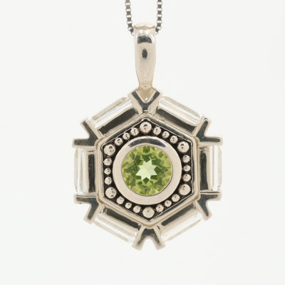Sterling Silver Peridot and Topaz Hexagonal Pendant Necklace