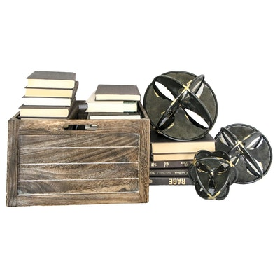 Wooden Crate, Books and Other Metal Decor