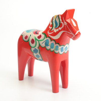 Nils Olsson Hand-Painted Red Dala Horse, Mid-Century