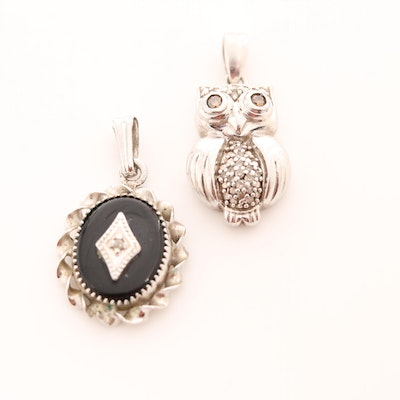 Sterling Silver Owl and Solitaire Pendant with Black Onyx and Diamonds