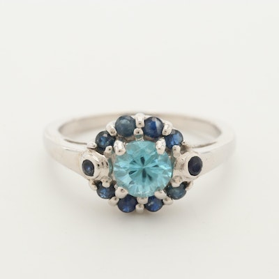 Sterling Silver Topaz and Blue Sapphire Ring
