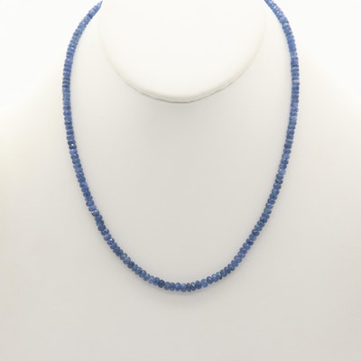 Sapphire Beaded Necklace with 14K White Gold Clasp