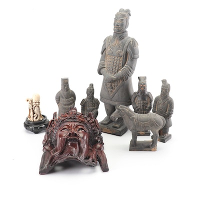 Chinese Replica Terracotta Warrior Figurines with Carved Mask