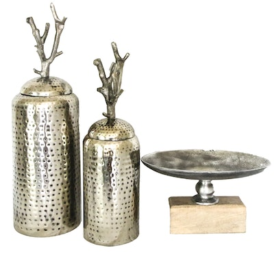 Grouping of Decorative Metal Vessels with Bowl