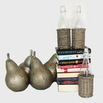 Contemporary Decorative Pears, Glass Bottles and Books
