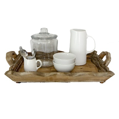 Wooden Breakfast Tray with Assorted Tableware
