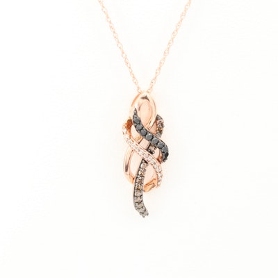 10K Rose Gold Diamond Pendant Necklace
