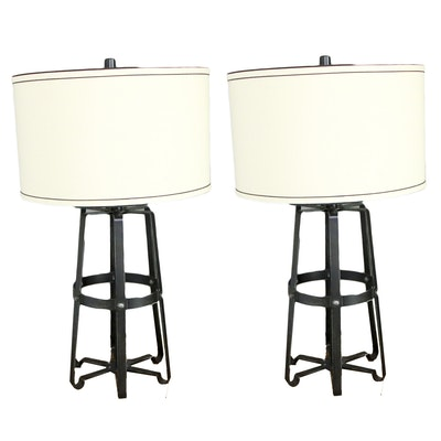 Pair of Contemporary Metal Table Lamps with Drum Shades