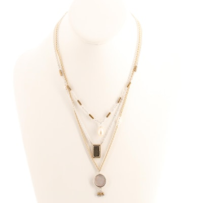 Sterling Silver and Gold Tone Triple Chain Necklace with Mother of Pearl Accents