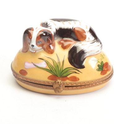 Hand-Painted Limoges Porcelain Spaniel Trinket Box