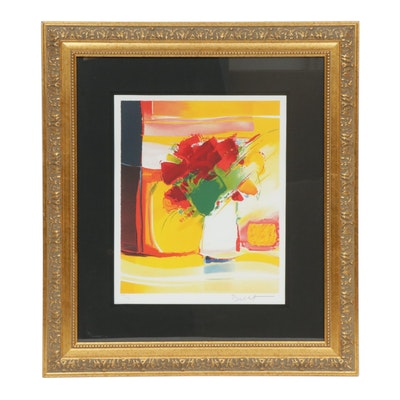 """Emile Bellet Color Lithograph """"Fete Blanche"""""""
