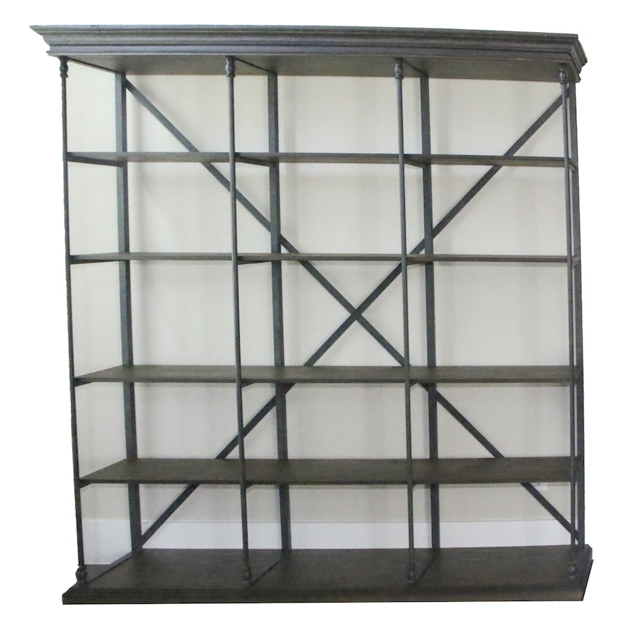 Contemporary Rustic Wood and Metal Bookshelf