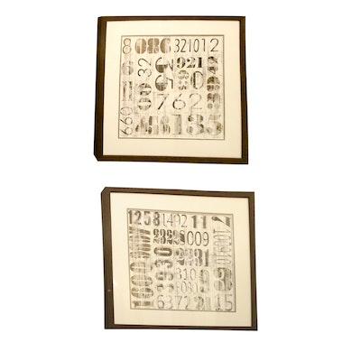 Pair of Framed Black & White Numeral Typeset Offset Lithographs