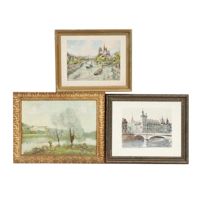 European Village Scene Watercolor and Oil Paintings Featuring Franz Herbelot