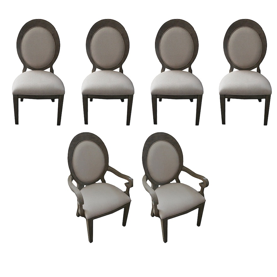 Contemporary Linen Upholstered Balloon Back Dining Chairs, Set of Eight