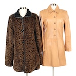Griffith Gray for St. John Leather Coat and Faux Leopard Coat
