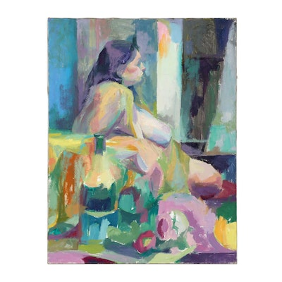Shirley Resnick Abstract Figural Oil Painting