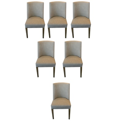 Six Natural Linen Upholstered Dining Chairs, 21st Century