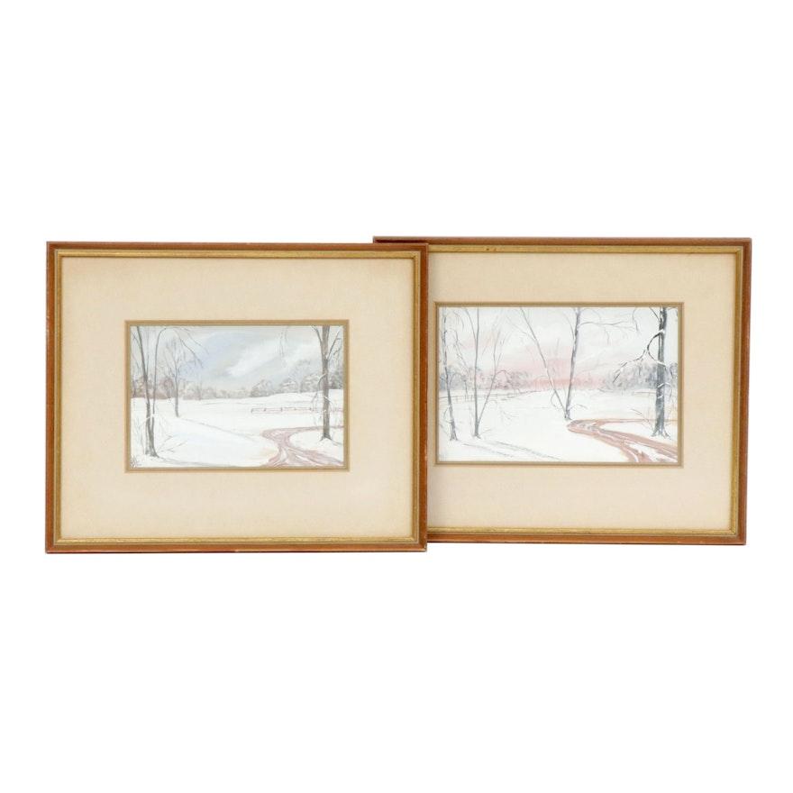 Winter Landscape Gouache Paintings