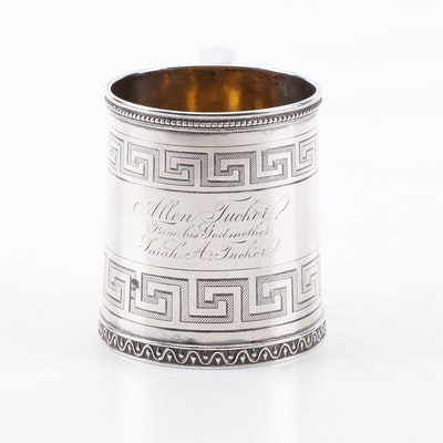 Tiffany & Co. Sterling Silver Presentation Mug to Painter Allen Tucker, 19th C.