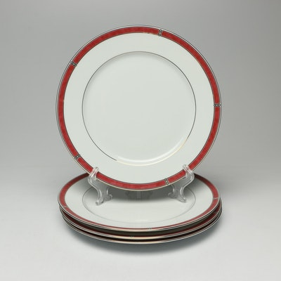 "Christofle ""Oceana Rouge"" Porcelain Dinner Plates"