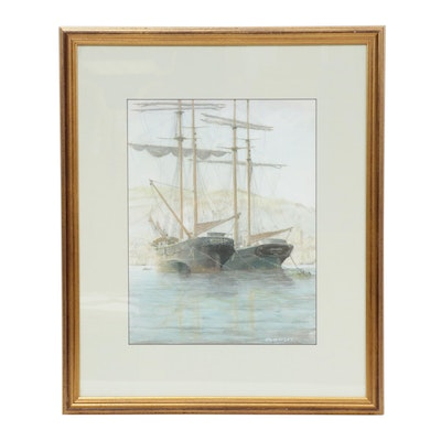 "J. A. Bayley Gouache Painting ""Ships at Port"""