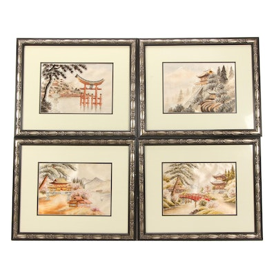 Japanese Painted and Embroidered Textile Panels