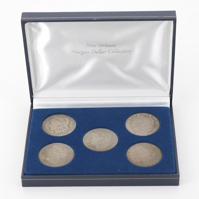 Five New Orleans Mints Silver Morgan Dollars Including 1891-O and 1900-O
