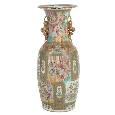 """Large Chinese """"Rose Medallion"""" Parcel Gilt Porcelain Floor Vase"""
