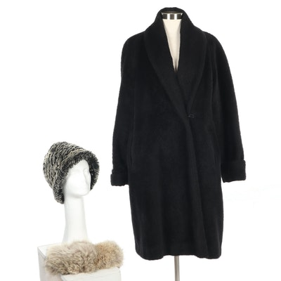 Peruvian Alpaca Coat with Coyote Fur Headband and Hatterdashers Rabbit Fur Hat