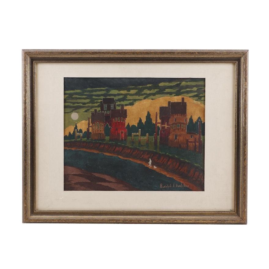Rudolph A Voelcker Landscape Gouache Painting
