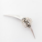 14K Yellow Gold and Sterling Silver and Cultured Pearl Brooch