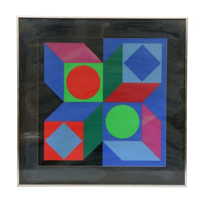 "Victor Vasarely Serigraph ""Lapidaire"""