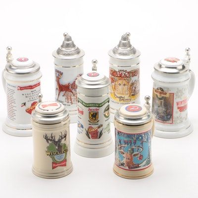 Holiday, Military, and Wisconsin Brewery Budweiser Beer Steins