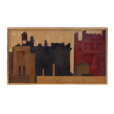 Modernist Oil Painting of Architectural Landscape