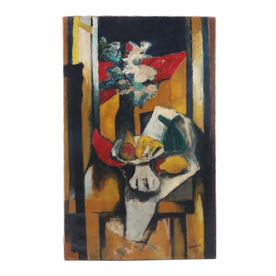 Mid 20th Century Modernist Still Life Oil Painting