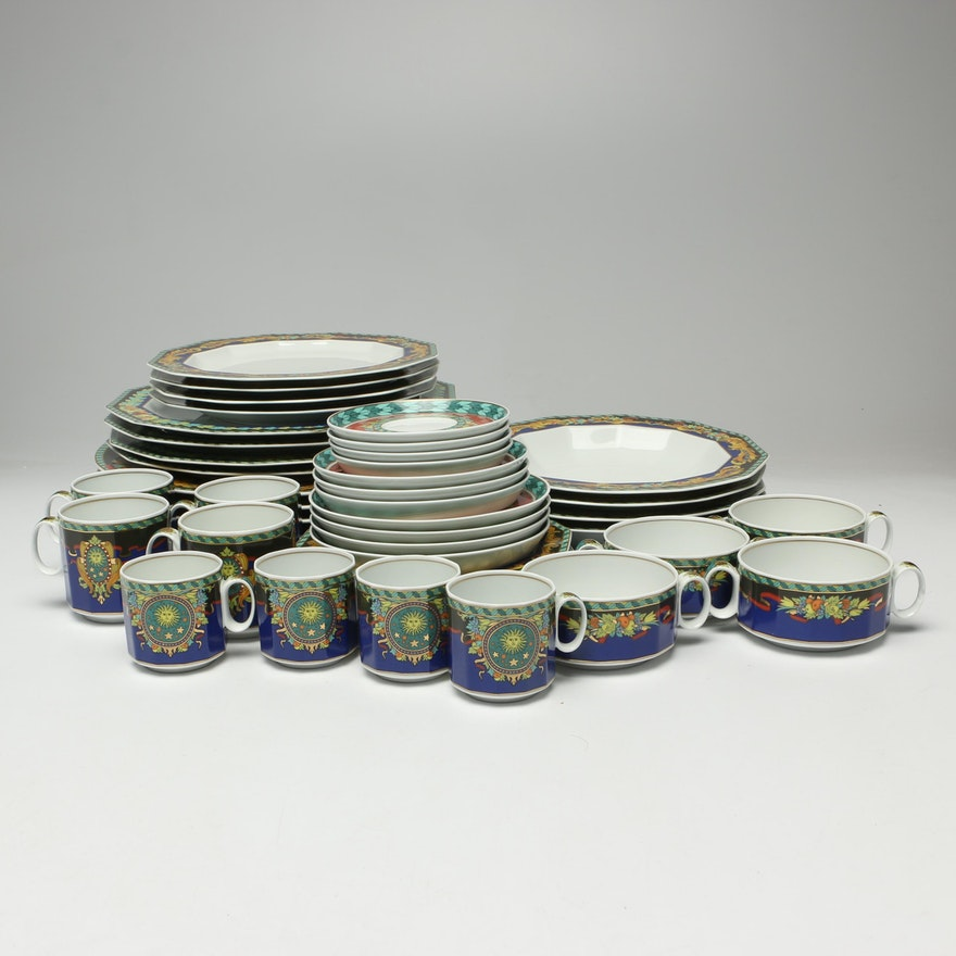 "Versace for Rosenthal ""Le Roi Soleil"" Porcelain Dinnerware, Service for Four"