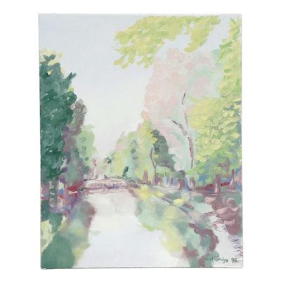 Brotheridge Canal Scene Oil Painting