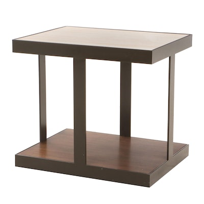 Calvin Klein Modernist Travertine, Mahogany and Metal End Table, Contemporary