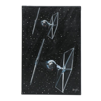 Chris Cargill TIE Fighters Acrylic Painting