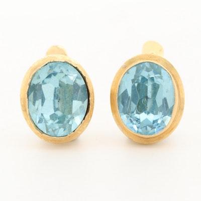 18K Yellow Gold Blue Glass Drop Earrings