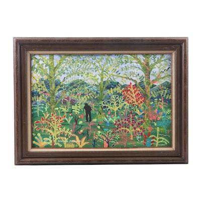 "Sandy Roe Free-Man Acrylic Painting ""Man in Jungle"""