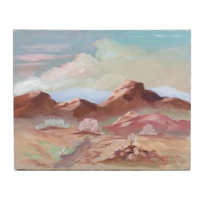 Lane Desert Scene Oil Painting
